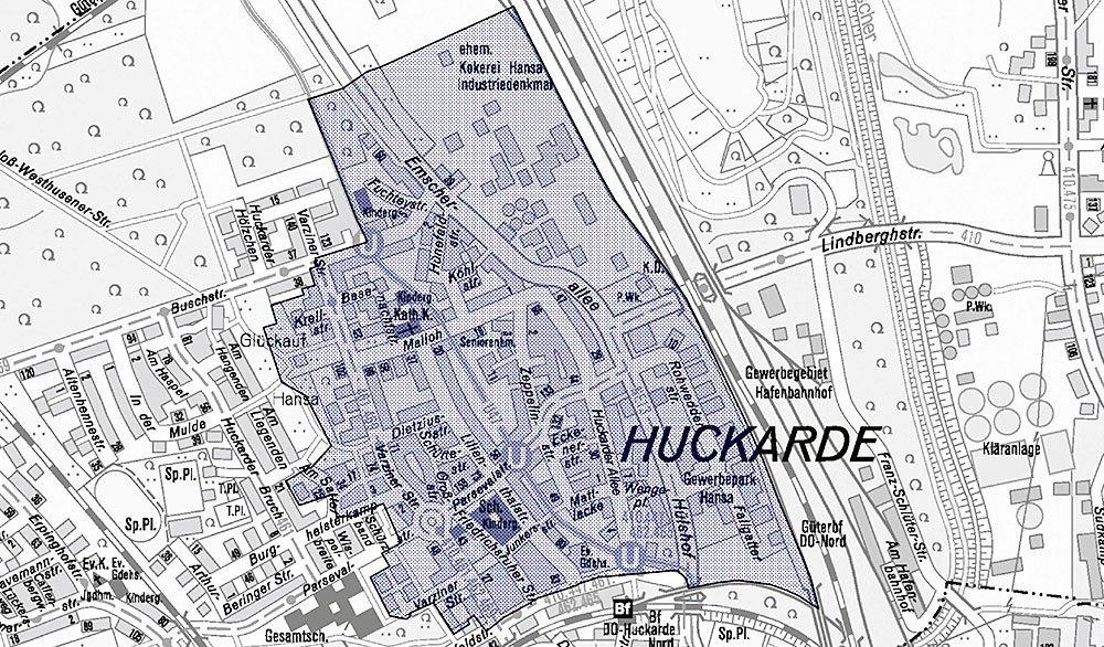 """Die blau schraffierte Fläche markiert das Untersuchungsgebiet """"Huckarde Nord – Kokerei Hansa"""""""