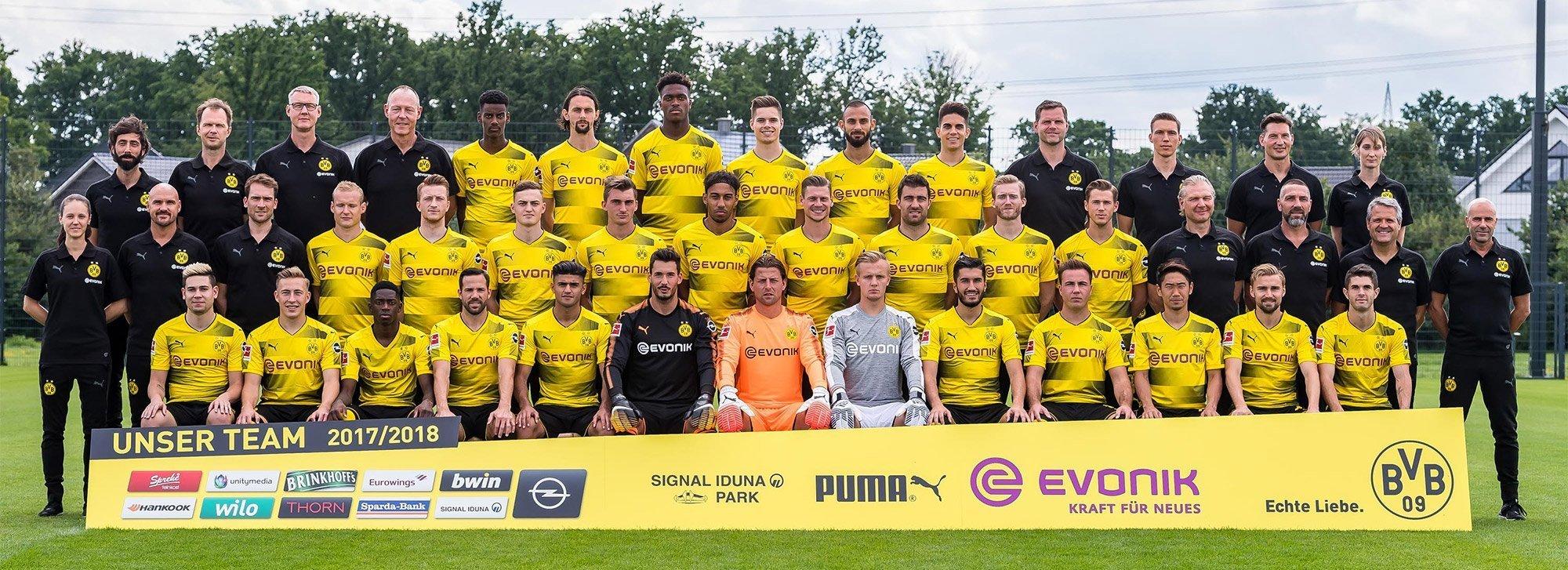 Der aktuelle BVB-Kader für die Saison 2017/18 (Foto: BVB)