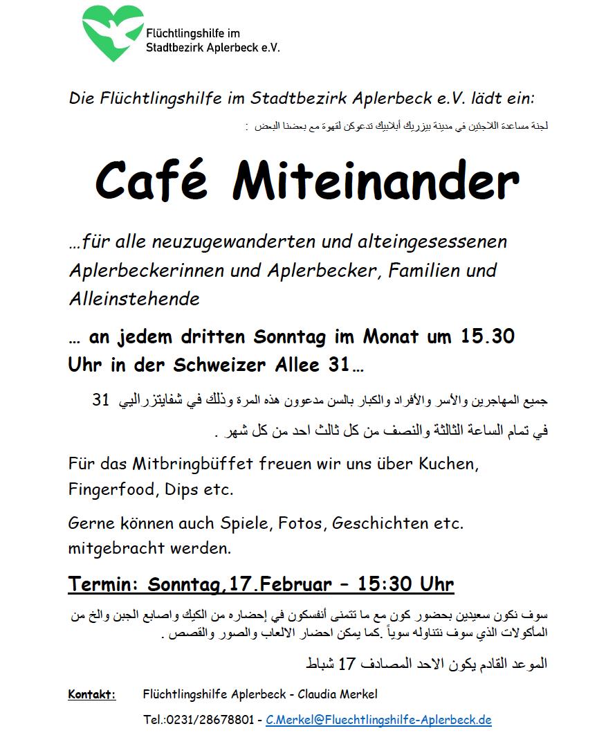 Flüchtlingshilfe im Stadtbezirk Aplerbeck e. V. lädt ein zum Café Miteinander