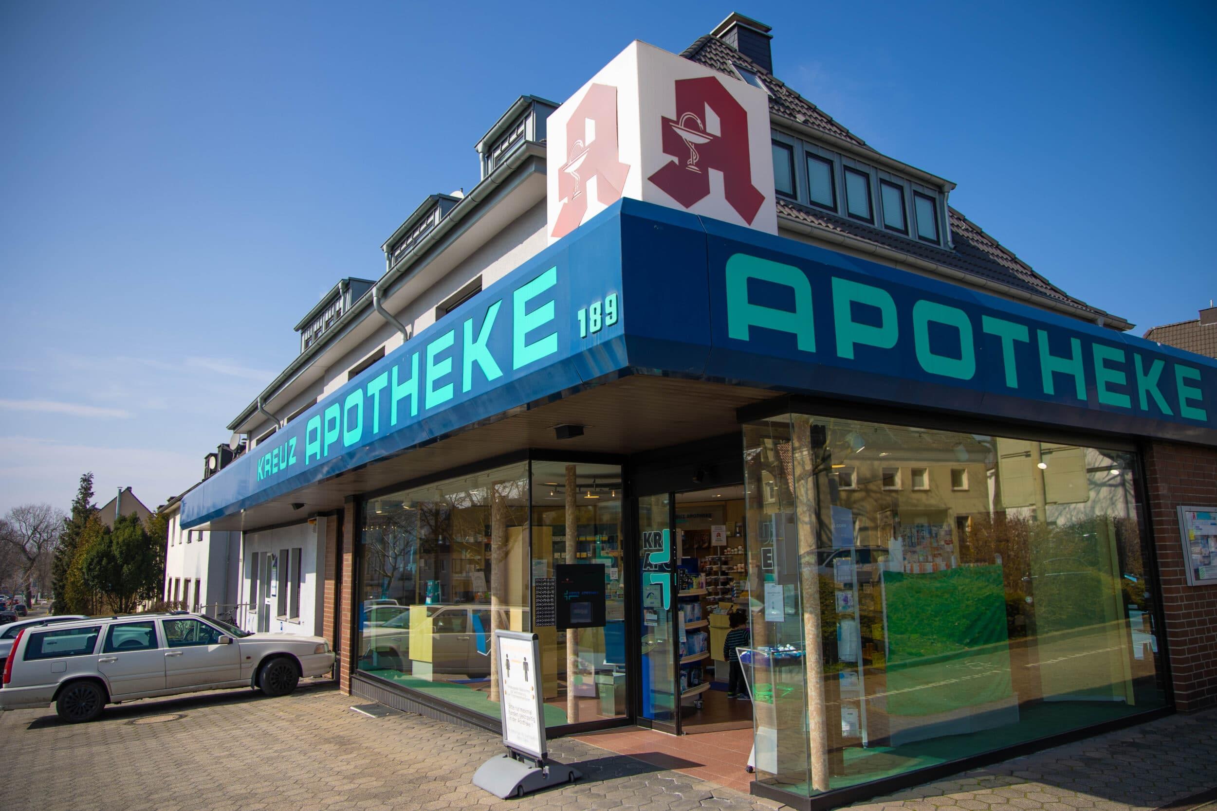 Auch die Kreuz-Apotheke in Barop bietet kostenlose Schnelltests an. (Foto: Wir in Dortmund)