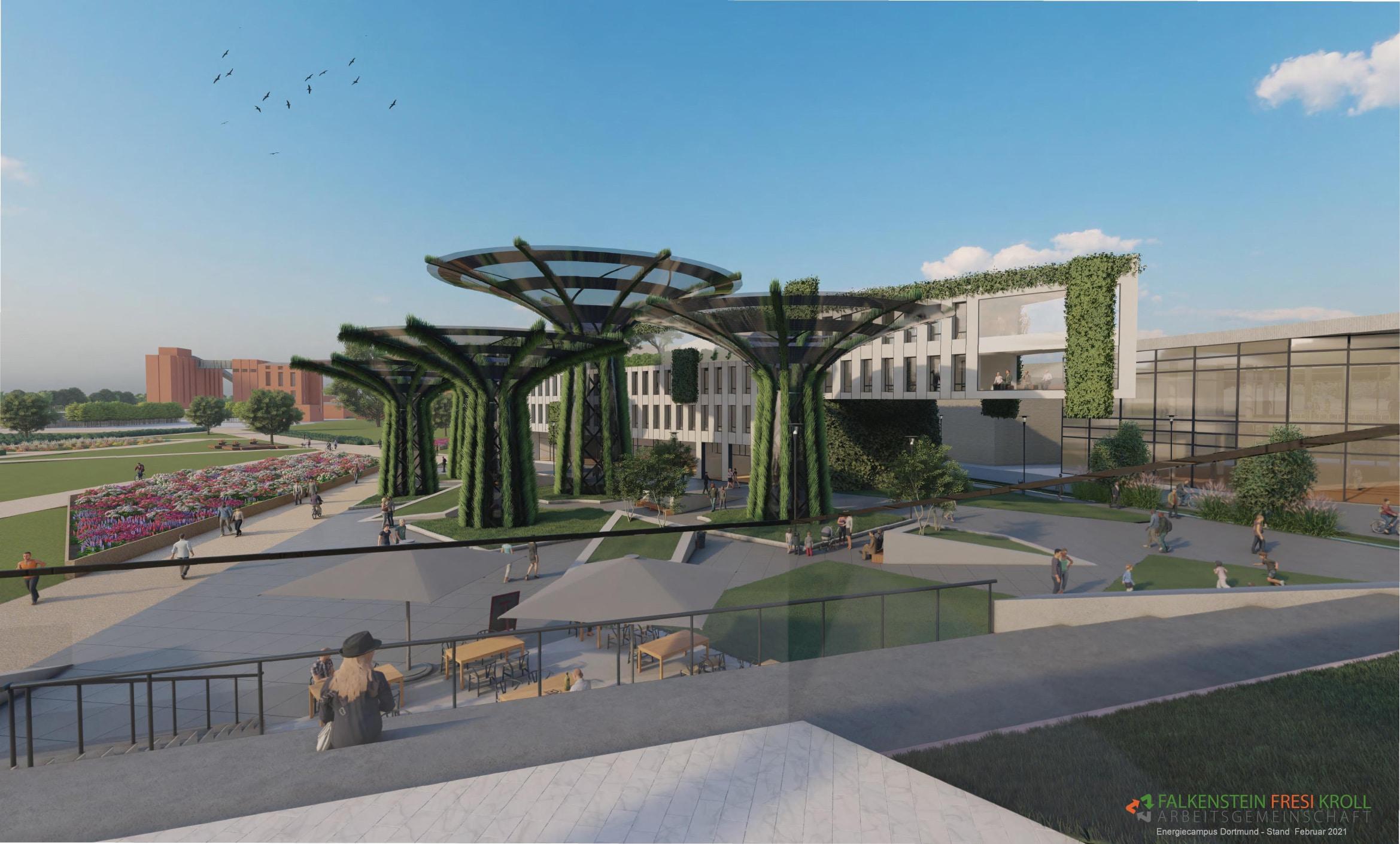 """Auch die optische Gestaltung des """"Energiecampus Dortmund"""" präsentiert sich zukunftsorientiert, womöglich sogar futuristisch.(Animationen: Falkenstein Fresi Kroll)"""