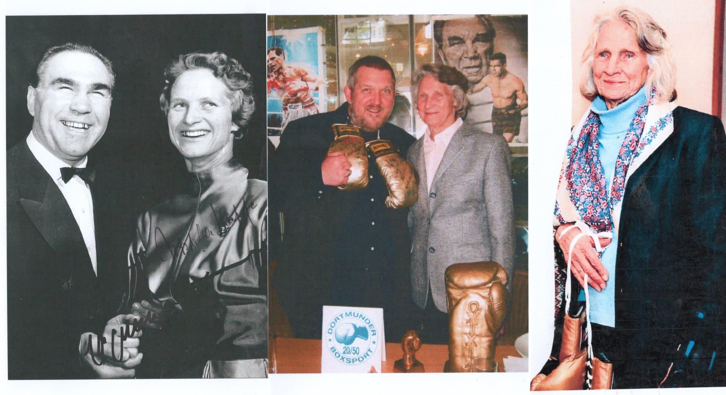 (v. l.) Ursula Happe mit Boxweltmeister Max Schmeling, mit Schauspieler Dietmar Bär und  beim 153. Prominenten-Stammtisch des Dortmunder Boxsport 20/50 im Februar 2020. (Collage: DBS 20/50)