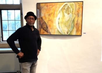 Rafael Campaná Ochoa in der Ausstellung (Foto: Kulturbüro Stadt Dortmund)