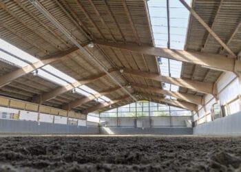 Ein Weilchen wird sie dauern, die Sanierung des Reithallendachs an der Mosselde –  schließlich geht es um einige Quadratmeter. Die Kirchlinder sind in jedem Falle sehr froh über die zugesagte Unterstützung. (Foto: Wir in Dortmund)