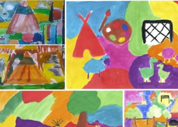 Kreatives Austoben: Kinder konnten bei der 'nordwärts'-Aktion sogenannte KunstºOrte wie das Big Tipi in Dortmund malerisch darstellen. (Foto: Screenshot dortmund-nordwaerts.de;  Quelle: www.dortmund.de)