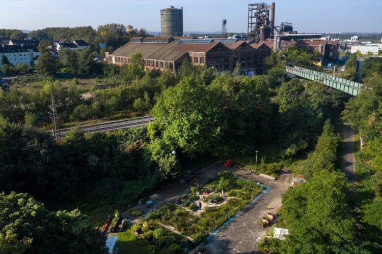 Blick über den Gemeinschaftsgarten Schallacker im Schatten stillgelegter Hochöfen in Hörde (Foto: Ina Fassbender).