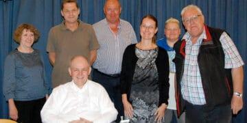 Der Vorstand des Historischen Vereins Huckarde 2019 e. V. nach der Jahreshauptversammlung: (v. l.) Helga Stalba (4. Beisitzerin) Stefan Keller (3. Beisitzer), Dr. Günter Spranke (1. Vorsitzender), Christian Oecking (1. Beisitzer), Stefanie Krumhus (Kassiererin), Claudia Brückel (Schriftführerin) und Dieter Eichmann (2. Vorsitzender und Geschäftsführung); (Foto: HVH)