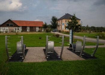 An den Geräten der Bewegungsinseln an den vier Emscher-Höfen – wie hier am Hof Emscher Auen – können sich die Menschen fit halten. (Foto: Wir in Dortmund)